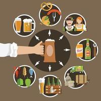 le icone piane della birra hanno messo l'illustrazione di vettore