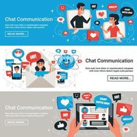 illustrazione di vettore di banner orizzontale di messaggi di chat elettronica