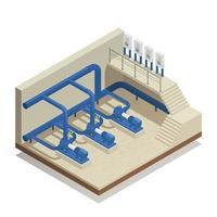 illustrazione isometrica di vettore della composizione nel sistema di pulizia dell'acqua