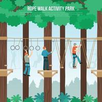 illustrazione di vettore del manifesto piatto del parco a piedi della corda