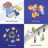 illustrazione di vettore di concetto di design isometrico riciclaggio dei rifiuti