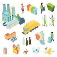 Le icone isometriche di riciclaggio dei rifiuti hanno messo l & # 39; illustrazione di vettore