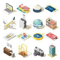 illustrazione di vettore delle icone isometriche di viaggio