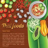 tailandese delizioso e famoso cibo insalata di papaya som tam e ingrediente con fondo in legno vettore