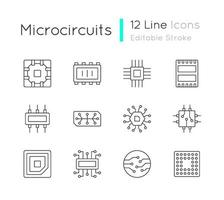 set di icone lineari di microcircuiti vettore