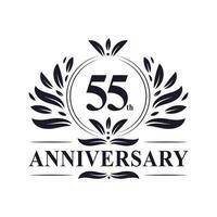 Celebrazione del 55 ° anniversario, lussuoso design del logo dell'anniversario di 55 anni. vettore