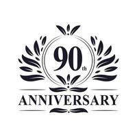 Celebrazione del 90 ° anniversario, design lussuoso del logo dell'anniversario di 90 anni. vettore