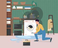 che fissa l'illustrazione di vettore di colore piatto della lavatrice rotta