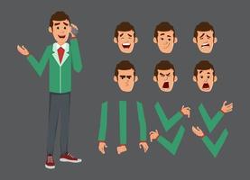 set di caratteri carino uomo d'affari per animazione o movimento con diverse emozioni facciali e mani. vettore
