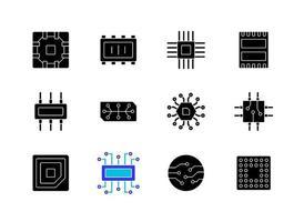 microcircuiti icone glifo nero impostato su uno spazio bianco vettore