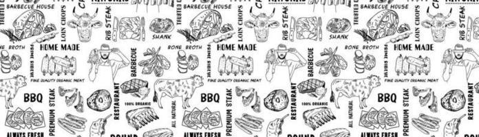 modello di prodotti a base di carne disegnato a mano. modello di design vintage, banner. vettore. vettore