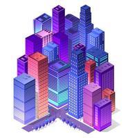 futura città isometrica futuristica 3d dalla tecnologia aziendale intelligente, sfondo digitale moderno concetto, edificio di design stradale su una casa urbana del paesaggio urbano. vettore