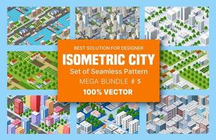 Insieme isometrico di blocchi modulo di aree della costruzione della città e progettazione della città prospettica di progettazione dell'ambiente urbano vettore