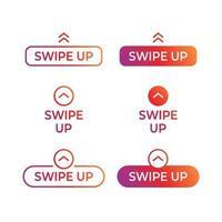 scorri verso l'alto, set di pulsanti per i social media. scorri verso l'alto l'icona della storia di insta. vettore
