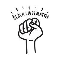 le vite nere contano. messaggio di testo per doodle disegnato a mano di azione di protesta. vettore