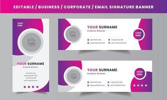 modello di progettazione di vettore di layout di firma e-mail aziendale personale aziendale con un posto di foto dell'autore