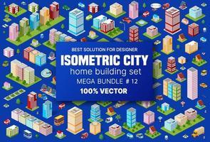 set isometrico edificio ospita icone di blocchi modulo di aree della costruzione della città e progettazione della prospettiva urbana del design dell'ambiente architettonico vettore