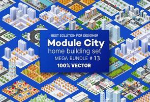 set isometrico architettura design ospita edifici trasporto di blocchi modulo di aree della costruzione della città e progettazione dell'appartamento prospettico degli affari dell'ambiente urbano vettore