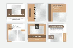 banner modello di post sui social media per la casa di interior design vettore