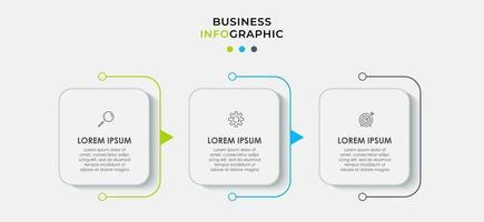 Il vettore di progettazione infografica e le icone di marketing possono essere utilizzate per il layout del flusso di lavoro, il diagramma, la relazione annuale, il web design. concetto di business con 3 opzioni, passaggi o processi.