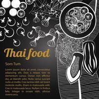 isolato menu di cibo tailandese som tum vettore