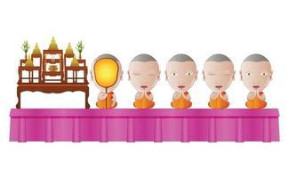 monaci che pregano in cerimonia religiosa vettore