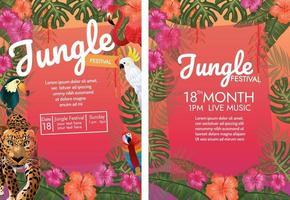 festa del festival della giungla tropicale con animali tropicali e foglie tropicali vettore