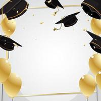 palloncino d'oro su sfondo festa di laurea vettore