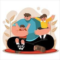 l'abbraccio di papà per i suoi due figli vettore