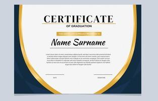 certificato di diploma scolastico della marina d'oro vettore