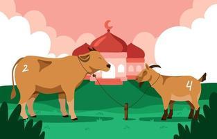una mucca e una capra presenti per eid adha vettore