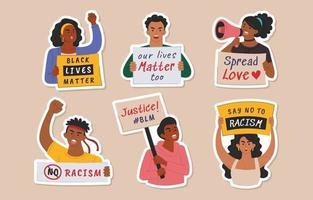 adesivo per la campagna di Black lives matter vettore