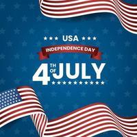 4 luglio us bandiera americana del giorno dell'indipendenza vettore