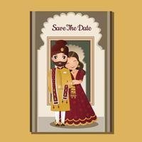 carta di invito a nozze la coppia carina sposa e sposo nel personaggio dei cartoni animati vestito tradizionale indiano. illustrazione vettoriale. vettore