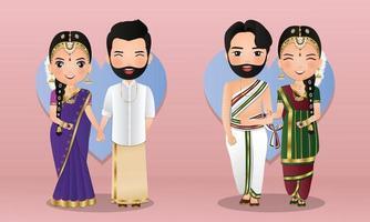 set di coppia carina in abiti tradizionali indiani personaggi dei cartoni animati sposa e sposo. carta di inviti di nozze. vettore