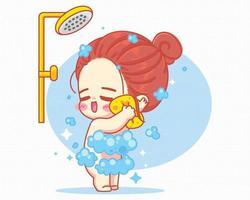 ragazza carina facendo la doccia nell'illustrazione di arte del fumetto del bagno vettore
