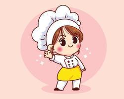 ragazza carina chef sorridente in uniforme mascotte gesticolando segno ok illustrazione di arte del fumetto vettore