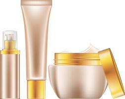 immagine di sfondo vettoriale che illustra un set di cosmetici in diversi contenitori