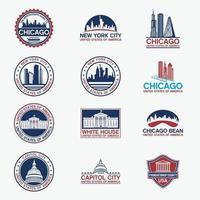 modelli di progettazione di vettore di loghi distintivi degli Stati Uniti