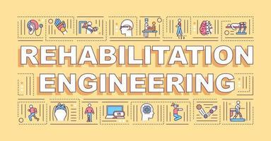 banner di concetti di parola di ingegneria riabilitativa vettore