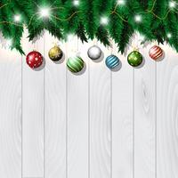 Palline di Natale su legno