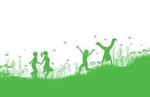 Bambini che giocano in erba e fiori vettore