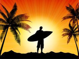 Silhouette surfista vettore