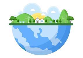 salva la nostra illustrazione del pianeta terra in un ambiente verde con un concetto ecologico e protezione dai danni naturali vettore