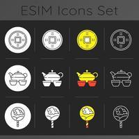 set di icone tema scuro cerimonie asiatiche vettore
