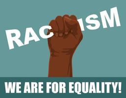 la scritta razzismo accartocciata nel pugno di un afroamericano vettore