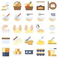 set di icone piatte relative a prodotti da forno e da forno 2 vettore