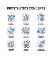 set di icone di concetto di protesi vettore