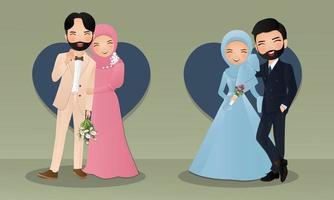 impostare la gioia del fumetto romantico giovane coppia musulmana in amore vettore