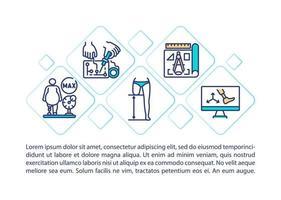 Icone di linea di concetto di protesi con testo vettore